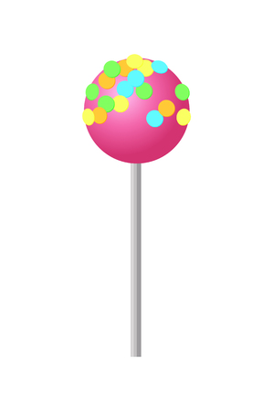 Sweet Strawberry Lollipop with Colorful Sprinkles Illustration