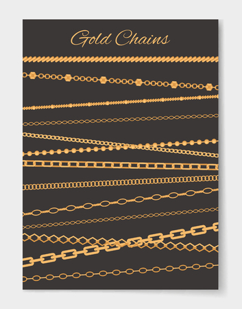 Gold Chains Variety Set Poster Vector Illustration