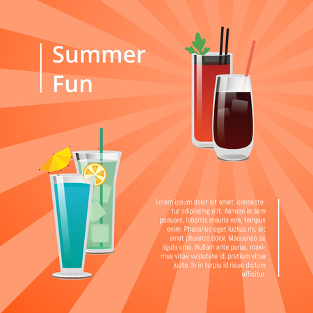 Summer Fun Poster with Bloody Mary Cocktail Vector 版權商用圖片 - 102127305