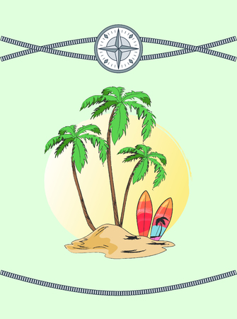 Wild Island with Three Plams Vector Illustration