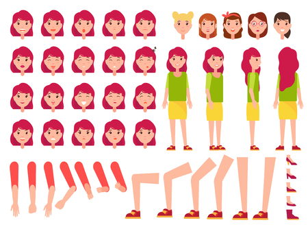 Woman Constructor, Set of Female Faces, Body Parts Illustration