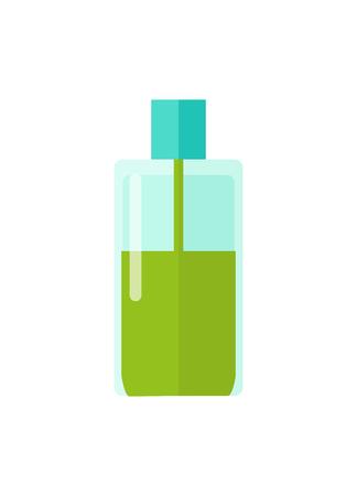 Botella de plástico y líquido ilustración vectorial Foto de archivo - 102127318