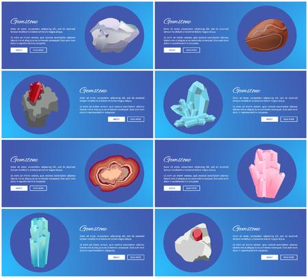 Gemstones Aquamarine Agate Sapphire Pink Quartz 向量圖像
