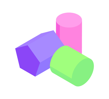Pentagonal Prism and Two Cylinders Colorful Poster Illustration
