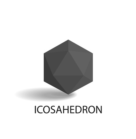 Icosahedron Isolated Black Three-Dimensional Shape