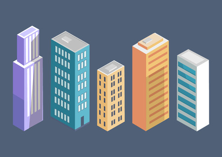 Buildings Collection Poster Vector Illustration