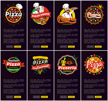 Pizza Restaurant and Pizzeria Vector Illustration