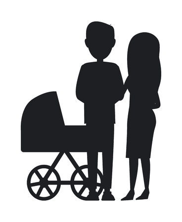 Silhouette of Family Black and White Vector Poster Banque d'images - 102127361