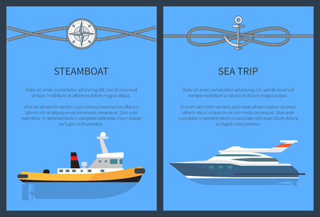 Steamboat and Sea Trip Set Vector Illustration