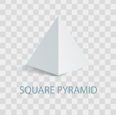 Square Pyramid Geometric Figure in White Color
