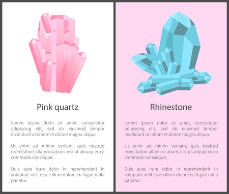 Pink Quartz and Rhinestone Mineral Posters Set