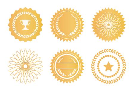 Watermerken instellen Gouden zegels Ster lauriertakken Vector Illustratie