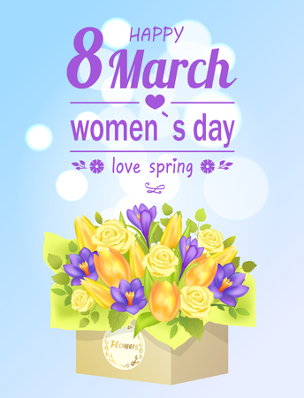 8 March womens day love spring poster flower bouquet composed by gentle spring flowers roses, crocuses, tulips packed in square box, present on 8 March Illustration