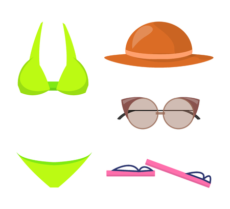 Swimming Suit and Items Set Vector Illustration
