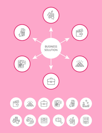 Busines Solution Vector Icons Set, Color Poster