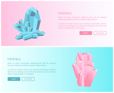 Minerals and Crystals, Pink Quartz and Aquamarine Stock Illustratie
