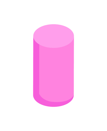 Vertical Pink Cylinder, Color Vector Illustration Illustration