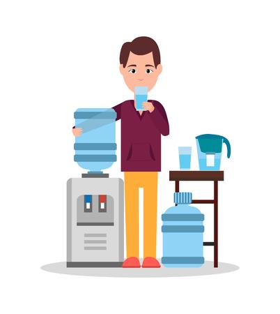 Man drinkwater Poster vectorillustratie Vector Illustratie