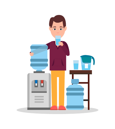 Man Drinking Water Poster Vector Illustration