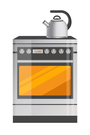 Shiny Metallic kettle on Brand-New Kitchen Stove Illusztráció