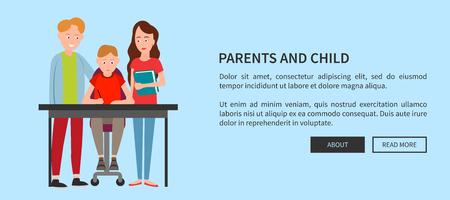 L'affiche Web des parents et des enfants aide à faire ses devoirs