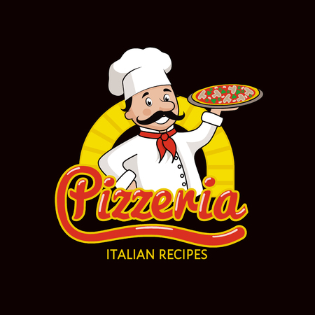Pizzeria with Italian Recipes Promotional Illustration