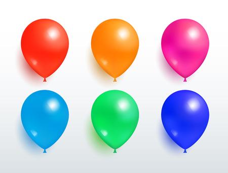 Set of Flying Balloons Red Orange Pink Blue Green
