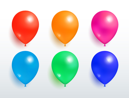 Set of Flying Balloons Red Orange Pink Blue Green