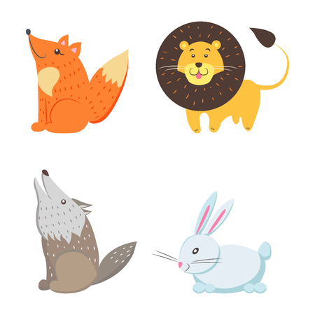 Red Fox, Yellow Lion, Howling Wolf, White Rabbit Illustration