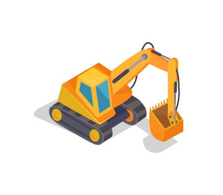 Excavator Machine Banner, Vector Illustration