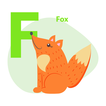 Zoo ABC Letter with Cute Fox Cartoon Vector