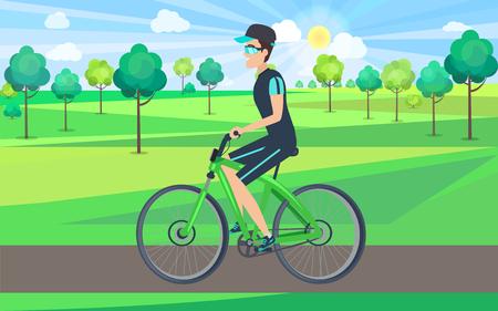 Sportsman Riding Bike in Countryside Illustration Standard-Bild - 102201156