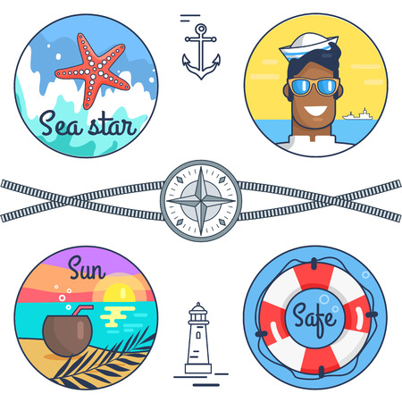Sea Star, Sun and Safe Set Vector Illustration