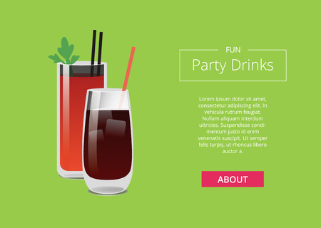 Fun Party Drinks Poster Bloody Mary Whiskey Cola Иллюстрация