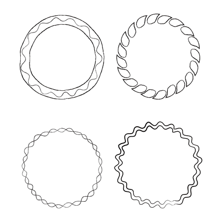 Round Doodle Line Art Frames Vector Set Illustration