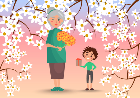 Grandmother with Grandson Surrounded with Flowers Illustration
