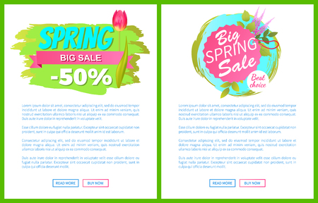 Spring Big Sale -50 Off Advertisement Label Tulip Ilustrace