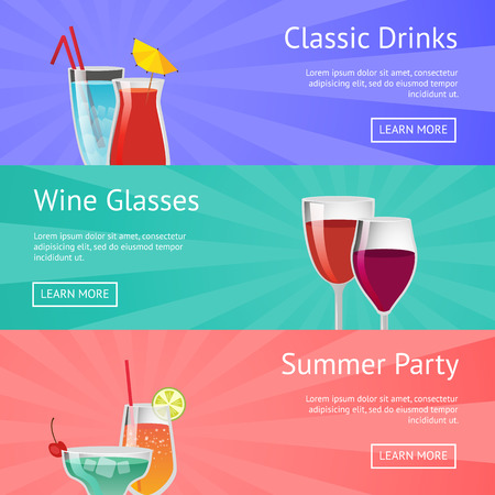 Classic Drinks Wine Glass Summer Party Alcohol Illustration