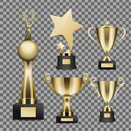 Golden Trophy Cups Realistic Vector Collection Иллюстрация