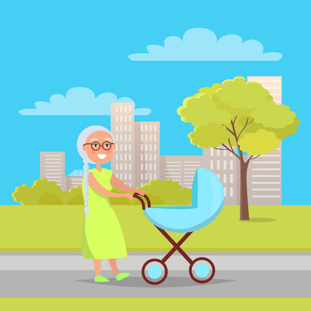 Senior Lady with Trolley Pram Walking in City Park Standard-Bild - 102201113