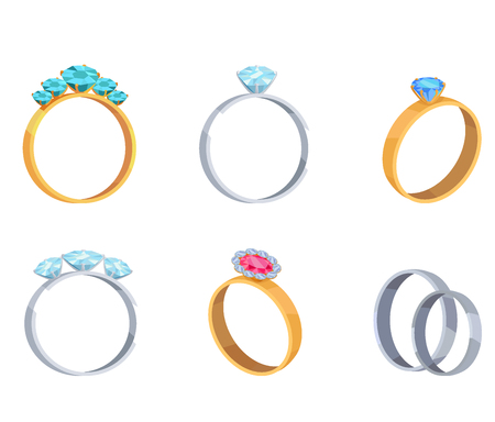 Precious Wedding Rings with Gems Vector Icons Set