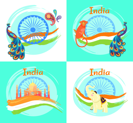 Famous India Symbols on Set of Bright Posters Illustration