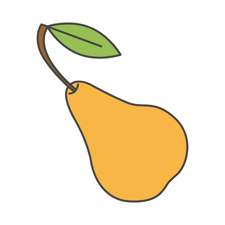 Yellow Pear with Green Leaf Close-up Flat Design 向量圖像