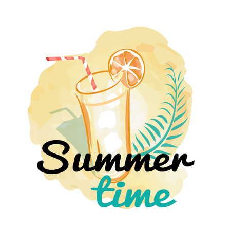 Summer Time Background with Fresh Drink Vector Stock Vector - 102201131