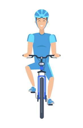 Cheerful Man Riding a Bike Multicolored Poster Ilustrace