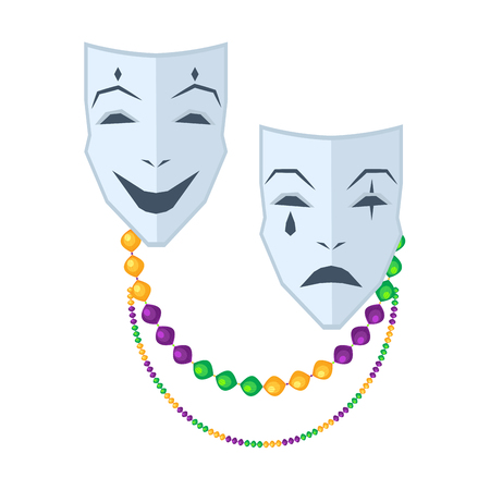 Theatrical Comedy and Tragedy Masks Flat Vector