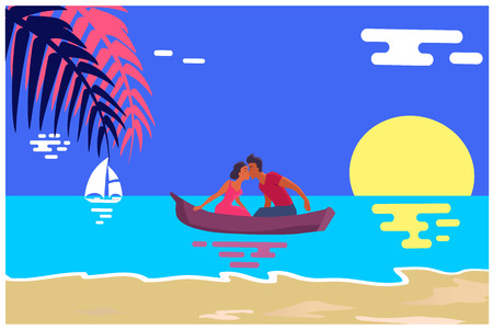 Summer Love Banner with Kissing Couple in Boat