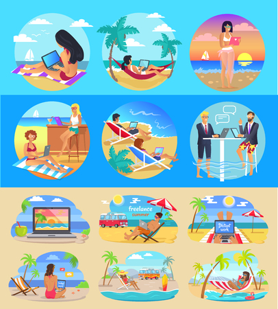 Freelance Workers With Laptops on Exotic Beaches