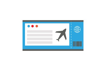Ticket on Plane Document, Vector Illustration