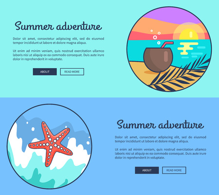 Set of Banners Dedicated to Summer Adventures